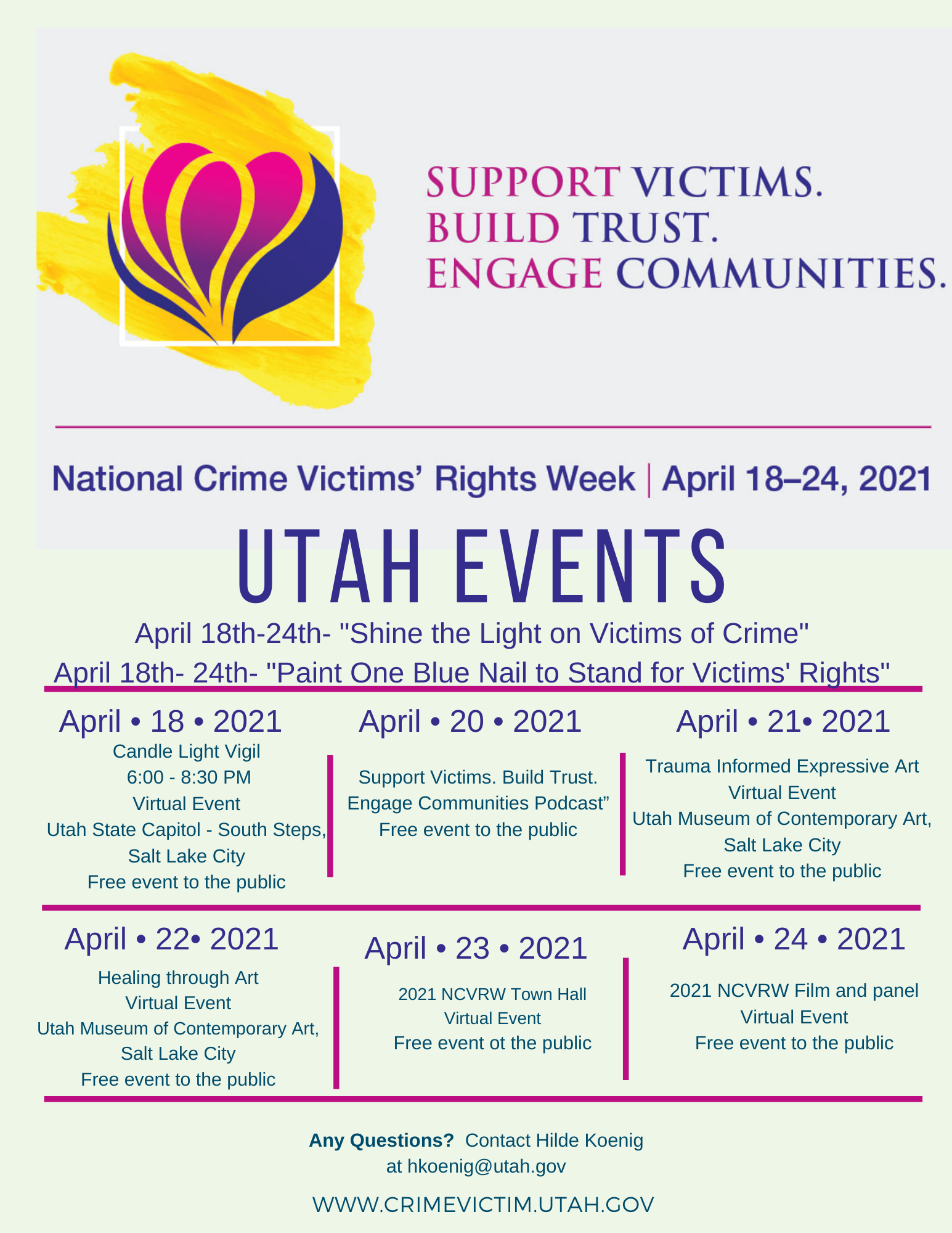 A list of Utah events for National Crime Victims' Rights week during the week of April 18-24, 2021